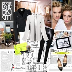 """White shirts with black lines"" by electric-bird ❤ liked on Polyvore"
