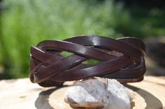 Leather Cuff Braided Bracelet Dark Mahogany by LeatherVision