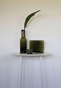 Iittala moss green glass - Ruutu vase Wirkkala Anniversary bottle