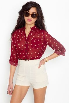 wine colored polkadot sheer button-down that would look adorable with cream colored bandage skirt and brown wedges