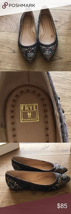 Frye brown leather studded pointy flats 9.5 Frye brown leather studded pointy flats 9.5 Frye Shoes Flats & Loafers