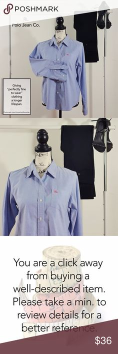 """RL Polo Jeans Co. classic button down shirt M Condition: great. Worn once. No sign of stains, tears or flaws.  100% cotton. Measures 22"""" from pit to pit and is 25"""" long. All measurements taken with garment laying flat. Images represent exactly how product looks like. Ships within 24 hours after purchasing. BUNDLE & SAVE! Polo by Ralph Lauren Tops Button Down Shirts"""