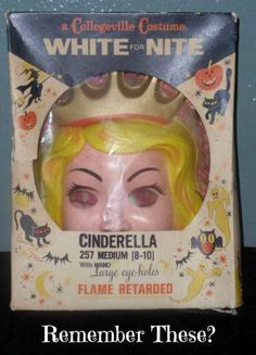 Vintage Collegeville Cinderella Halloween Costume Sixties- I remember wearing this and sweating behind the mask. My Childhood Memories, Childhood Toys, Sweet Memories, Early Childhood, Cinderella Halloween Costume, Halloween Costumes, Halloween Stuff, Photo Vintage, I Remember When