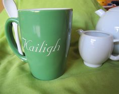 The Crystal Shoppe - Monogrammed Green Ceramic  Ursah Spoon Mug, $9.95 (http://www.thecrystalshoppe.com/monogrammed-green-ursah-spoon-mug/)