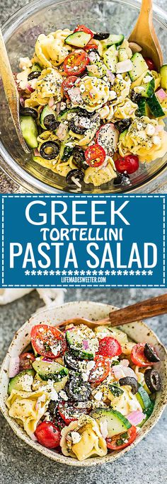 This Greek Tortellni Pasta Salad Meal Prep bowl is the perfect side dish for Memorial Day, Fourth of July and all your weekend barbecues, cookouts, grillouts, potlucks and picnics. Best of all, so easy to make and leftovers are delicious for school or work lunchboxes or lunch bowls. Loaded with cucumber, tomatoes, olives, red onions and crumbled feta - and a delicious homemade dressing.