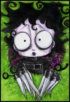 Edward Scissorhands with some kind of a Betty Boop twist! Estilo Tim Burton, Tim Burton Style, Tim Burton Art, Creepy Drawings, Cartoon Drawings, Cute Drawings, Edward Scissorhands Movie, Creepy Eyes, Cute Goth