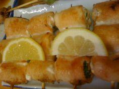 Yakitori stuffed with Shiso Japanese Meals, Japanese Food, Teriyaki Skewers, Shrimp, Lime, Meat, Fruit, Limes, Japanese Dishes