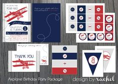 Airplane Birthday Party Package  time flies by DesignbyRachelG, $27.00
