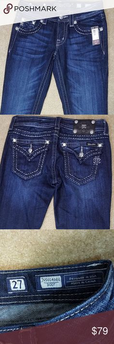 """Miss Me Women's  Blue Boot Cut Jeans Miss Me Women's Basic Stitch Dark Blue Boot Cut Jeans JS5014B61 Size 27 Material: 98% Cotton 2% Elastane Color: Blue Condition: Brand new with tags ~ Comes from a SMOKE FREE home. No holes or stains. Measurements: Waist: 27"""" Inseam: 35"""" Leg Opening: 8.5"""" Miss Me Jeans Boot Cut"""