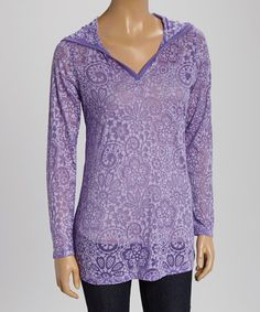 Look at this #zulilyfind! Violet Lotus Burnout Hoodie by TROO #zulilyfinds