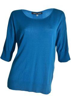 Cable & Gauge Short Sleeve Sweater M Top Sheer Knit Banded Hem Teal Blue NEW #CableGauge #ScoopNeck