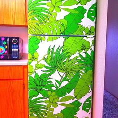 Fridge Wrap / Peel And Stick Removable Wallpaper / Self Adhesive Vinyl Fridge Decal / Refrigerator Wrap / Floral Pattern on Dark Background Tall Fridge, Refrigerator Wraps, Wallpaper Door, Old Wooden Doors, Vinyl Doors, Watercolor Sunset, Modern Door, Tropical Pattern, Loft