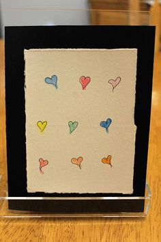 Items similar to Blank Greeting card, Colorful hearts on black on Etsy Greeting Cards, Hearts, Colorful, Unique Jewelry, Handmade Gifts, Card Ideas, Etsy, Vintage, Black