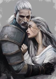 Geralt and Ciri -The Witcher 3 The Witcher Books, The Witcher Game, Witcher 3 Wild Hunt, The Witcher Geralt, Witcher Art, Fantasy Books, Fantasy Characters, Fantasy Rpg, Character Inspiration