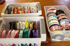 How to Organize Ribbons - Rose Atwater Ribbon Organization, Basket Organization, Plastic Baskets, Art Supplies, Ribbons, Organize, Hacks, Rose, Pink