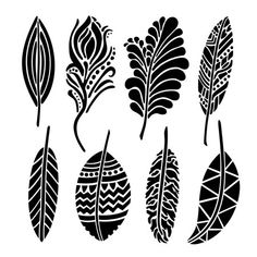 Stencil Templates, Stencil Patterns, Stencil Designs, Zentangle Patterns, Design Templates, Embroidery Patterns, Hand Embroidery, Feather Stencil, Feather Template