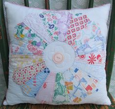 vintage dresden plate quilt pillow with pink by SugarAndSpice,