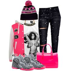 A fashion look from October 2014 featuring Boohoo jeans, Furla handbags and Adeen hats. Browse and shop related looks.