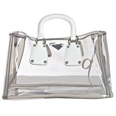 Prada White Transparent Pvc Medium Tote (2.700 BRL) ❤ liked on Polyvore featuring bags, handbags, tote bags, prada, borse, purses, bolsas, prada tote bag, clear tote bags and clear tote