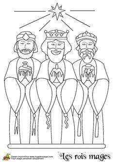 A colorier, les trois Rois Mages avec leurs présents illuminés par l'Etoile.