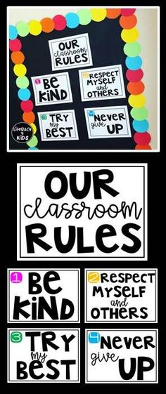Cute bulletin board signs and classroom rules!