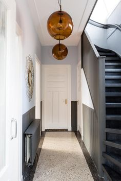 Interior Staircase, Staircase Design, Sycamore House, Hallway Flooring, Hallway Designs, 1930s House, Stair Decor, White Doors, Hallway Decorating