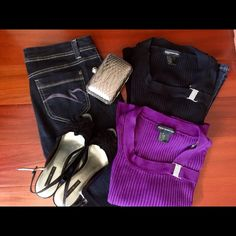 Plum and black knit tops with crystal broach clasp Knitted plum and black top bundle with crystal clasp at neckline purchased at Macy's. Worn once or twice. Hand wash and dry flat. R.E.Q Required to Wear Tops