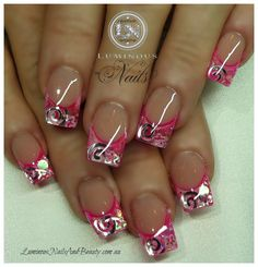 Pink tips with inlaid foil swirls and shapes nail art