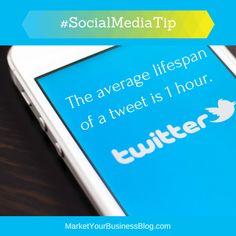 Here is the #SocialMediaTip of the Day: The average lifespan of a tweet is 1 hour.  29% of tweets actually produce a reaction - that is, a reply or a retweet.  Just 6% of all tweets are retweeted and these retweets have a very short lifespan.  Virtually all retweets happen within the first hour after the original tweet.  If you are looking to get retweeted and nobody picks your tweet up within the first hour, chances are that nobody ever will.