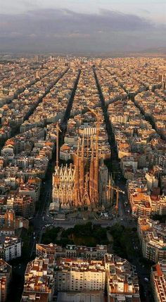 An aerial view of Barcelona, Spain. The The Eixample district has octagonal city blocks, designed to allow light and space on the street corners. Travel Around The World, Around The Worlds, Aerial Photography, Travel Photography, Places To Travel, Places To Visit, Travel Destinations, Reisen In Europa, Voyage Europe