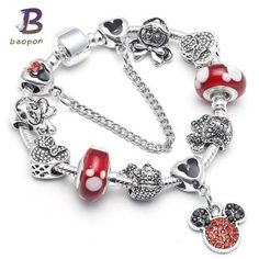 BAOPON Dropshipping Mickey Minnie Charm Bracelet With Nice Marano Beads Fit Original Pandora Bracelet For Kids Special Gift Bracelet Pandora Charms, Disney Charm Bracelet, Pandora Beads, Pandora Jewelry, Kids Bracelets, Fashion Bracelets, Fashion Jewelry, Fashion Fashion, Review Fashion