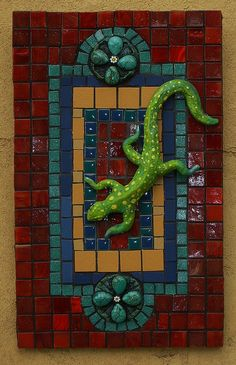 "Garden Visitor 7""x11"" cement board base with mosaic of smalti,vitreous tile,porcelain,turquoise & hand sculpted gecko."