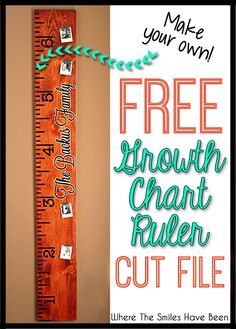 Free DIY Growth Chart Ruler Cut File to make your own life-sized ruler! What a great way to document your kids' growth (and take it with you if you move)! Vinyl Projects, Projects For Kids, Circuit Projects, House Projects, Project Ideas, Height Ruler, Height Growth, Growth Chart Wood, Shilouette Cameo