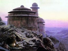 ROTJ: Ralph McQuarrie matte painting of Jabba& Palace at sunset. Star Wars Wallpaper, Wallpaper Backgrounds, Science Fiction, Worms Eye View, Jabba's Palace, Star Wars Personajes, Star Wars Jokes, Star Wars Tattoo, Visual Effects