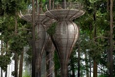 Antony Gibbon's Lord of the Rings-Style Treehouses are made up of a series of pod-like capsules, which are harnessed to each tree in a way that neither harms the tree or prevents it from growing.