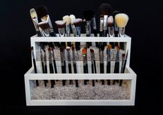 MUST ORDER BY DECEMBER 10TH FOR GUARANTEED DELIVERY BEFORE CHRISTMAS! Keep your brushes organized and accessible in this stylish 2 Tier Wood and Acrylic Brush Holder. About this Product This hand crafted wood and acrylic brush holder features two 13-3/4 by 4-1/4 sections to keep