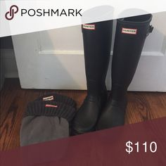 Black Hunter Rubber rain boots Black knee high matte rubber Hunter Rain boots with knit Hunter socks. Hunter Boots Shoes Winter & Rain Boots