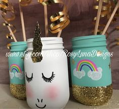 The perfect centerpiece for that unicorn themed special occasion and looks gorgeous in the kids room too. ***the pom pom sticks are sold separately *** The jars are hand painted with chalk paint. The unicorn comes with the paper glitter gold horn. You can put fresh flowers, treats/candy, napkins, straws and plastic cutlery inside the jars. To see all of my cute jars, please visit... https://www.etsy.com/shop/RosyLunaDesigns I use a three step process of coated chalk...