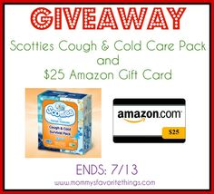 Enter to win the $25 Amazon Gift Card with Scotties Cough & Cold Care Pack giveaway.