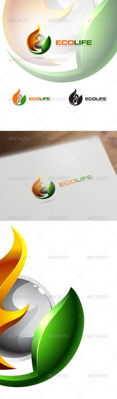 3D Eco Logo - Nature, Technology & Science  #GraphicRiver
