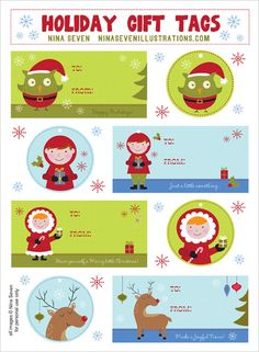 Printable Holiday Gift Tags Pinned by www.myowlbarn.com