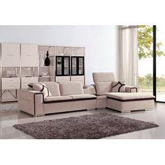 Modern Beige Fabric Sectional Sofa