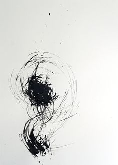 Original Fine Art Abstract Ink Drawing  Cosmo   black by ComArt, $48.00