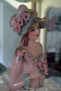 Porcelain Half Doll Pincushion ~ Dresser Doll ~ Charlotte ~ OOAK ~ Original…