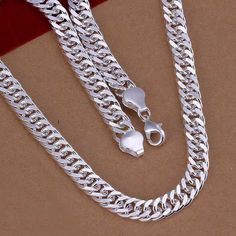 Fashion silver plated Chain 10mm/20inch Sidyways Necklaces Pendants For Women Men jewelry SMTN039