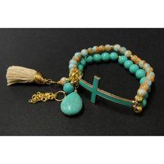Pulsera de Moda con Perla y Turquesa - Cruz - 7 Colores
