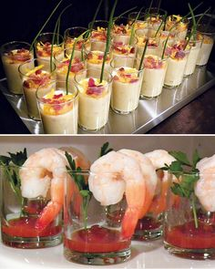 {For the Guys!} A Pub Inspired Brew Bash. If I switch from a beer to a Madmen Scotch Whiskey theme, the shrimp cocktail in the rocks glass could still work as an appetizer. Snacks Für Party, Appetizers For Party, Appetizer Recipes, Party Drinks, Shrimp Appetizers, Shot Glass Appetizers, Cocktail Party Food, Cocktail Recipes, Good Food