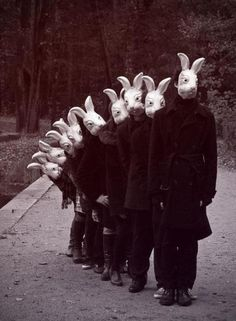 $OULLES$ No Face, Mad World, Bunny Mask, White Rabbits, Animal Masks, Bizarre, Scary, Macabre, Vanitas