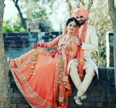 BrideGroom. Punjabi Sikh Wedding #bridal #bride #lehenga #kalire #chura #turban…