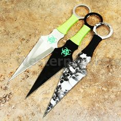 "9"" set of 3 PCS Zombie High Quality Steel Throwing Knives Knife with Sheath USA"